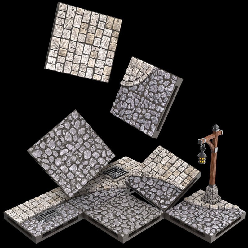 Warlock Dungeon Tiles: Town/Village - Town Square