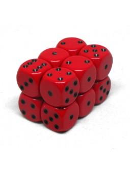Brique de 12 d6 16mm opaques rouge avec points noirs