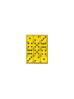 Brique de 36 d6 12mm opaques jaune avec points noirs