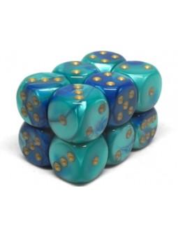 Brique de 12 d6 16mm Gemini bleu/sarcelle avec points or