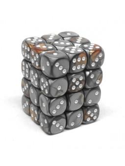 Brique de 36 d6 12mm Gemini cuivre/acier avec points blancs