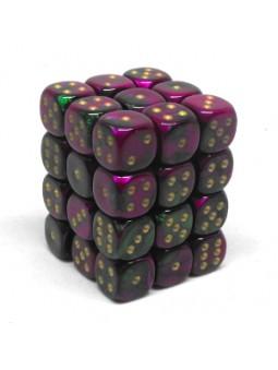 Brique de 36 d6 12mm Gemini vert/violet avec points dorés