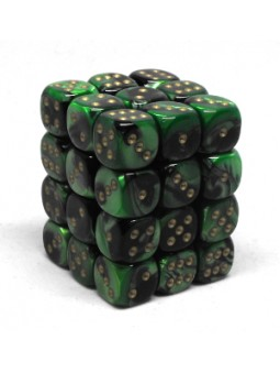 Brique de 36 d6 12mm Gemini noir/vert avec points dorés