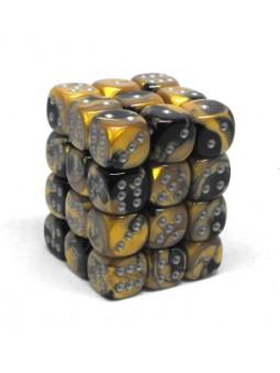 Brique de 36 d6 12mm Gemini noir/or avec points argentés