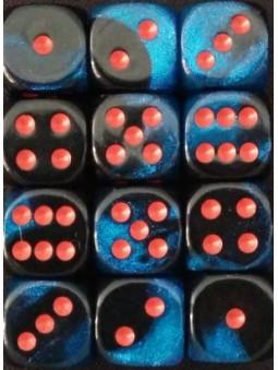 Brique de 36 d6 12mm Gemini ciel noir étoilé avec points rouges