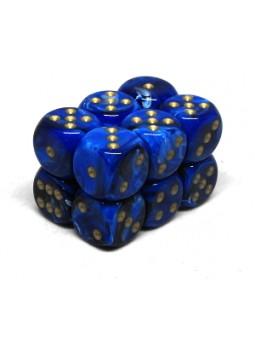 Brique de 12 d6 16mm Vortex bleu avec points dorés