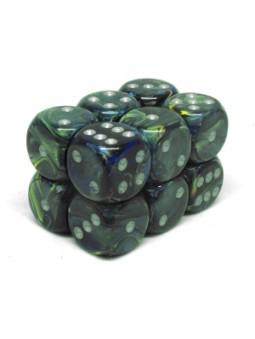 Brique de 12 d6 16mm Festive vert avec points argentés