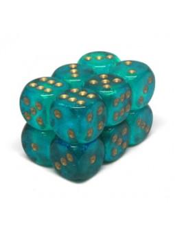 Brique de 12 d6 16mm Borealis turquoise avec points dorés