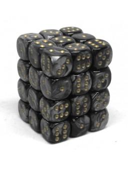 Brique de 36 d6 12mm Lustrous noir avec points dorés