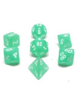 Ensemble de 7 dés polyédriques Givrés sarcelle avec chiffres blancs