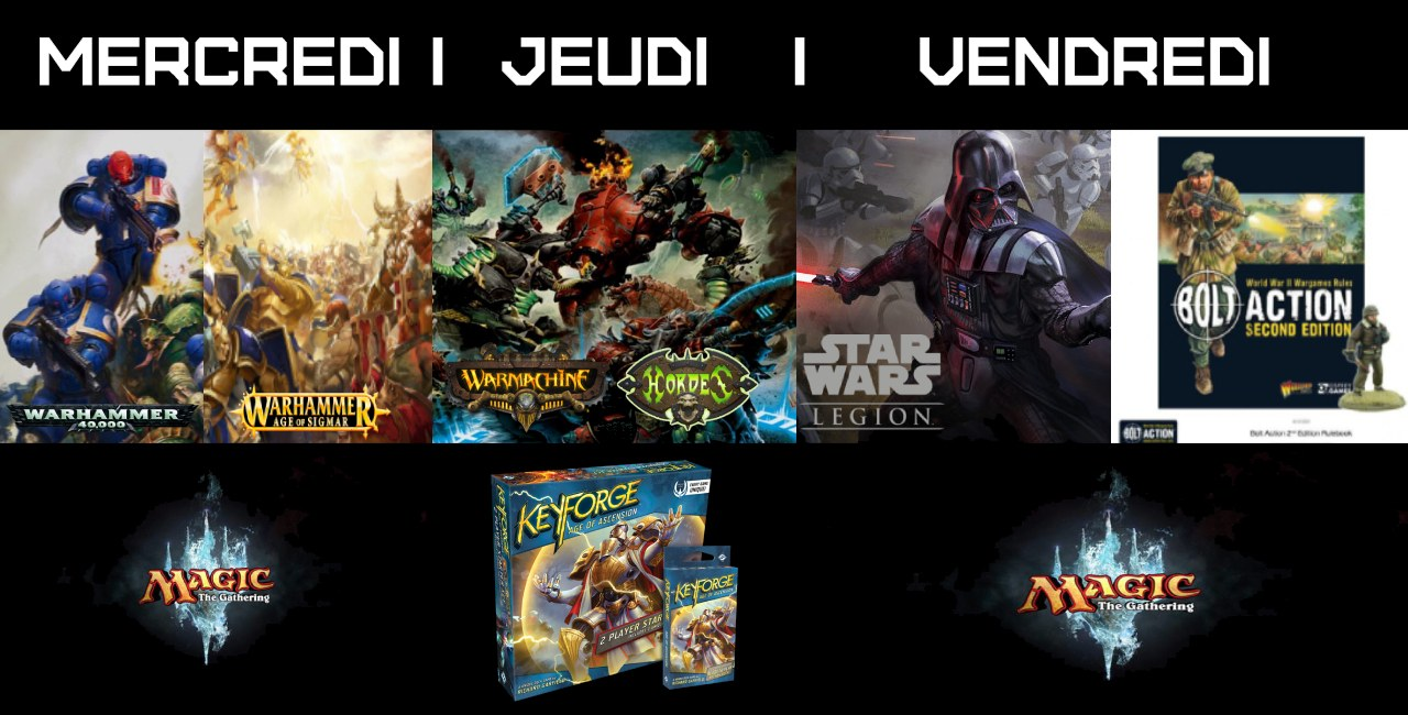 Soirée Magic, Warhammer, Warmachine, Star wars, Bold Action La cage aux trolls