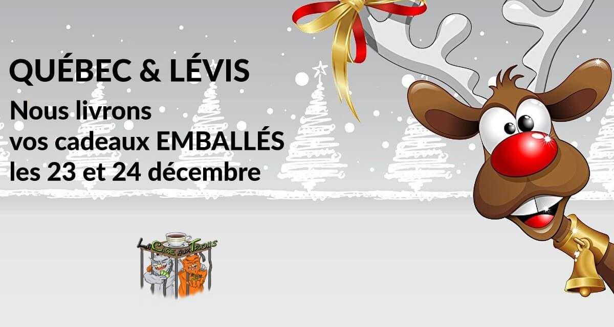 Faites livrer vos cadeaux emballés les 23 et 24 décembre